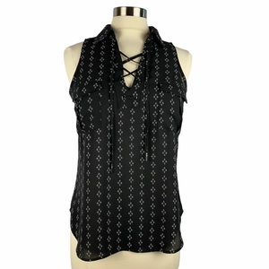CANDIE'S Lace Up Sleeveless Black Print Top M